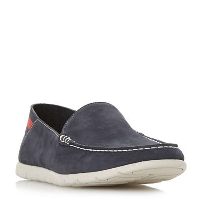 Dune - Navy 'Busquets' contrast sole loafers
