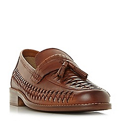 Dune - Tan 'Broadhaven' woven saddle tassel loafers