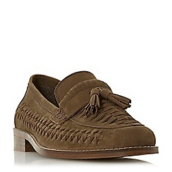 Dune - Brown 'Broadhaven' woven saddle tassel loafers