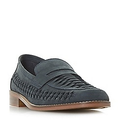 Dune - Navy 'Barmouth bay' woven saddle loafers