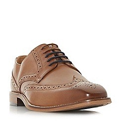 Dune - Tan 'Benzema' punch hole wingtip low block heel brogue shoes