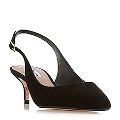 Dune - Black suede 'Casandra' mid kitten heel court shoes