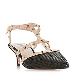 Dune - Black leather 'Casterly' mid kitten heel ankle strap sandals