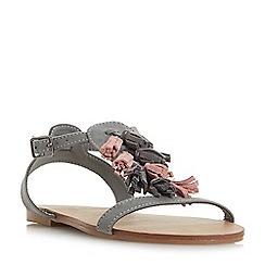 Head Over Heels by Dune - Grey 'Lawla' tassel flat sandals