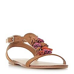 Head Over Heels by Dune - Tan 'Lawla' tassel flat sandals