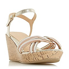 Head Over Heels by Dune - Gold 'Kellis' mid wedge heel ankle strap sandals