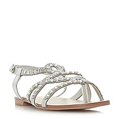 Head Over Heels by Dune - Silver 'Nadias' ankle strap sandals