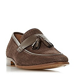 Dune - Brown 'Pele' punched detail tassel loafers