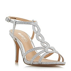 Head Over Heels by Dune - Silver 'Mamboo' mid stiletto heel t-bar sandals