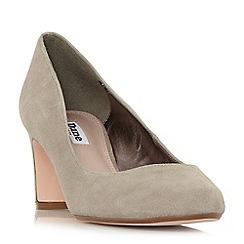 Dune - Taupe suede 'Addena' mid block heel court shoes