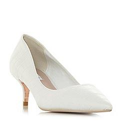Dune - White 'Alesandra' kitten heel court shoes