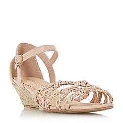 Head Over Heels by Dune - Natural 'Kourt' mid wedge heel peep toe sandals