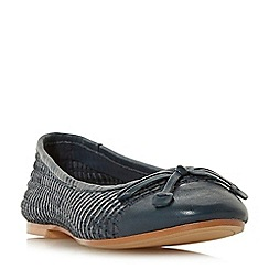 Dune - Navy leather 'Hennah' ballet pumps