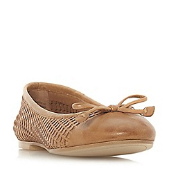 Dune - Tan leather 'Hennah' ballet pumps