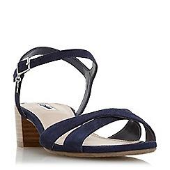 Dune - Navy leather 'Jazzy' block heel sandals