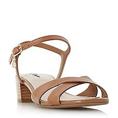 Dune - Tan leather 'Jazzy' block heel sandals