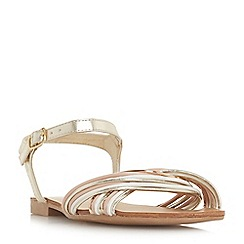 Head Over Heels by Dune - Gold 'Loaki' ankle strap sandals