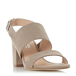 Head Over Heels by Dune - Taupe 'Jamella' mid block heel ankle strap sandals