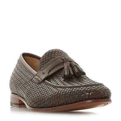 Dune - Brown 'Paolo' woven tassel loafer shoes