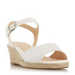 Head Over Heels by Dune - White 'Kyyli' mid wedge heel ankle strap sandals