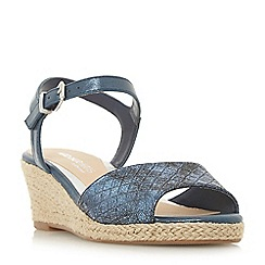 Head Over Heels by Dune - Navy 'Kyyli' mid wedge heel ankle strap sandals