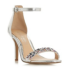 Head Over Heels by Dune - Silver 'Meeva' ankle strap sandals