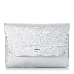 Dune - Silver 'Ellanaa' double fold over clutch bag