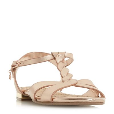 Dune block - Rose leather 'Lottery' block Dune heel t-bar sandals 687477