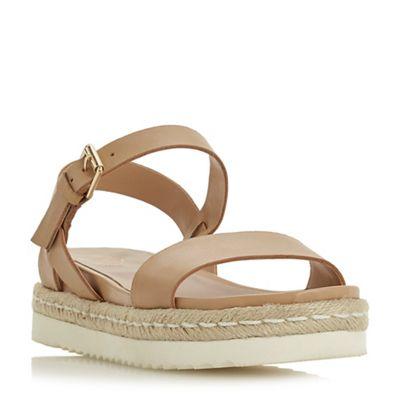 Dune - Tan leather 'Lissy' platform ankle strap sandals