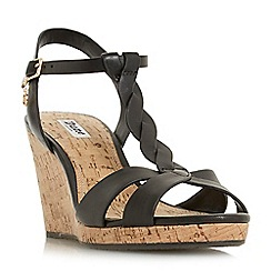 Dune - Black leather 'Koala' high wedge heel t-bar sandals