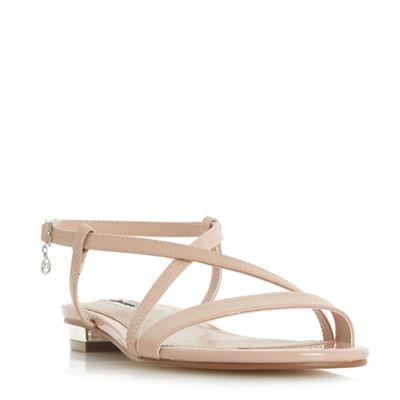 Dune - Natural 'Nenna' block heel t-bar sandals