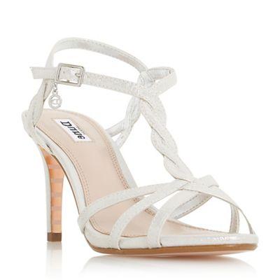 Dune - Silver 'Mystick' ankle strap sandals