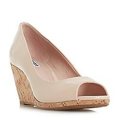Dune - Natural 'Caydence' high wedge heel peep toe sandals
