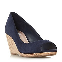 Dune - Navy suede 'Caydence' high wedge heel peep toe sandals