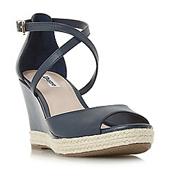 Dune - Navy leather 'Kestrel' mid wedge heel espadrilles