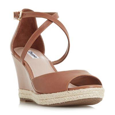 Dune - Tan leather 'Kestrel' mid wedge heel espadrilles