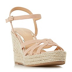 Head Over Heels by Dune - Natural 'Kalissa' high wedge heel ankle strap sandals