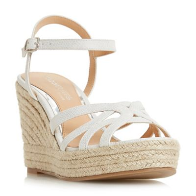 Head Over Heels by Dune - White 'Kalissa' high wedge heel ankle strap sandals