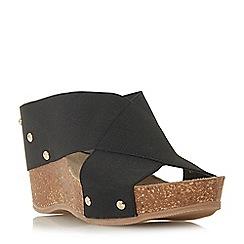 Roberto Vianni - Black 'Kally' high wedge heel mule sandals