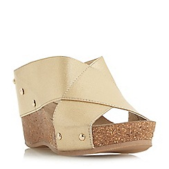 Roberto Vianni - Gold 'Kally' high wedge heel mule sandals