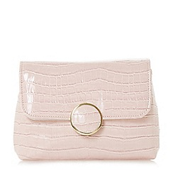 Dune - Light pink 'Bayer' croc foldover clutch bag
