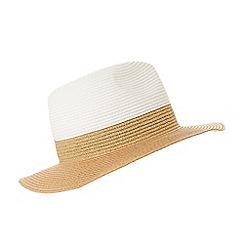 Dune - White 'Freesia' colour block trilby straw hat