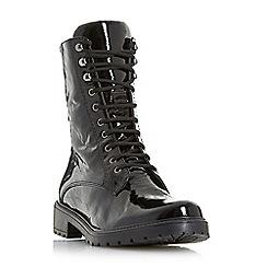 Dune - Black patent 'Rayko' block heel biker boots