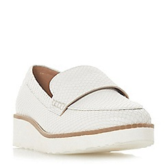 Dune - White leather 'Gessie' platform loafers