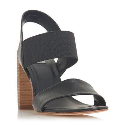 Dune - Black leather 'Jumper' high block heel ankle strap sandals