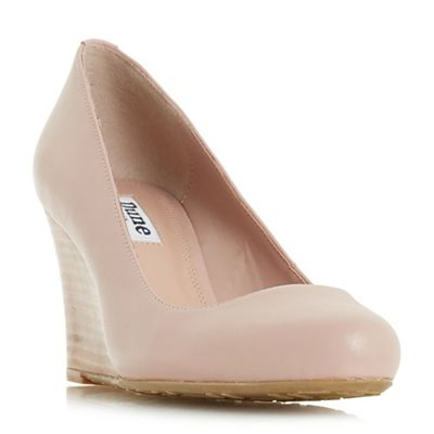 Dune - Light pink leather 'Alixxe' high wedge heel court shoes