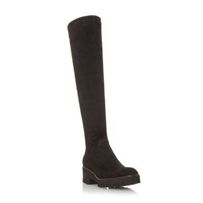 Dune Dune Dune - Black suede 'Valero' knee high boots f3e2cd