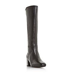 Dune - Black leather 'Salza' mid block heel knee high boots