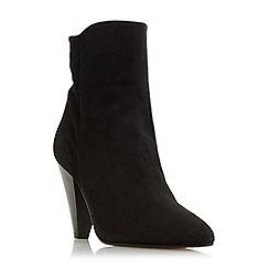 Dune - Black suede 'Odell' mid block heel ankle boots