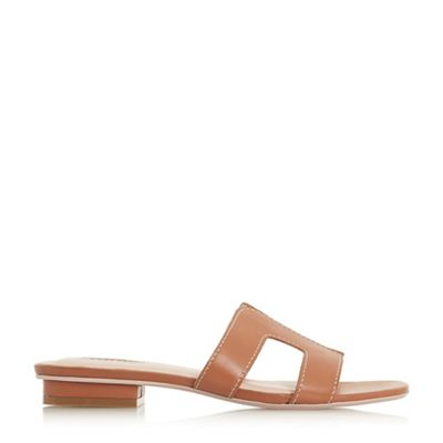 Dune   Tan Leather 'loupe' Block Heel Mules by Dune